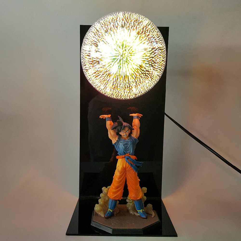 Dragon ball z goku espírito bomba figuras de ação led lâmpada brinquedo anime dragon ball super son goku estatueta brinquedo diorama 15 cor escolher