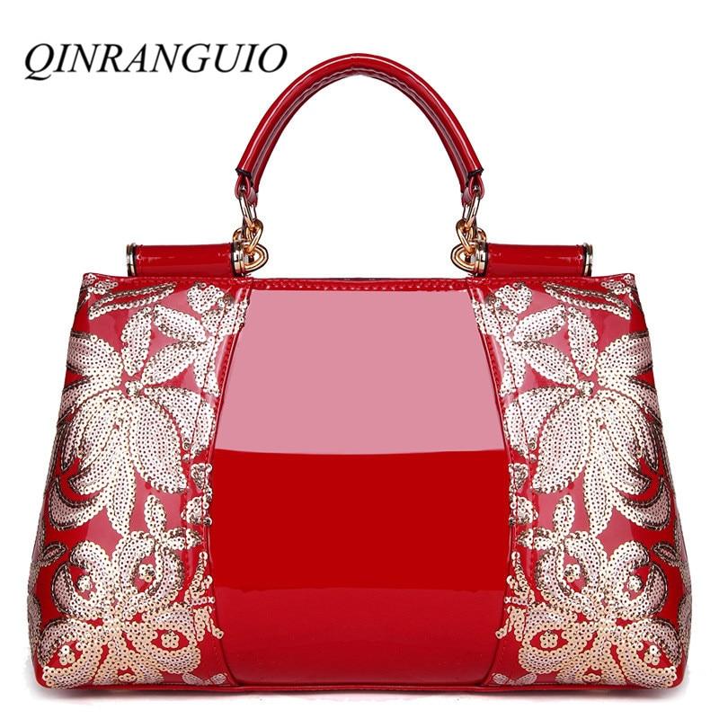 81a38744f7 Luxe Cuir Noir Qualité Sac blanc Designer Marques Sacs rouge Femme De D'épaule  Célèbre Qinranguio Femmes Main ...
