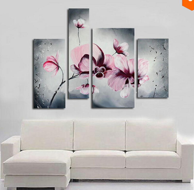 Beautiful modern abstract art oil painting on canvas gray sytle pink flower Painting home decoration No frame in Painting Calligraphy from Home Garden