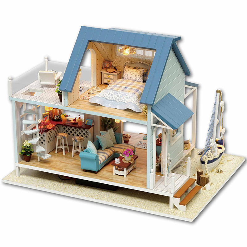 CUTE ROOM New Wooden Toy Doll House Miniature DIY Dollhouse With Furnitures Wooden House Toys For Children Model Building Toy mylb assembling diy miniature model kit wooden doll house paris apartment house toy with furnitures