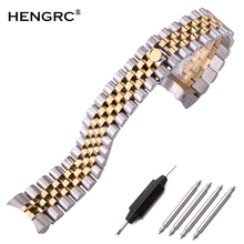 Stainless Steel Watch Band Strap 20mm Men Metal Watchbands Curved End Silver Fashion Women Solid Link Bracelet Accessories