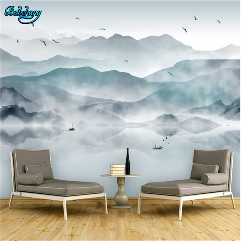 beibehang Non - woven wallpaper wall murals new Chinese abstract artistic conception ink painting landscape wall murals 30pcs in one postcard chinese ancient ink landscape painting christmas postcards greeting birthday message cards 10 2x14 2cm