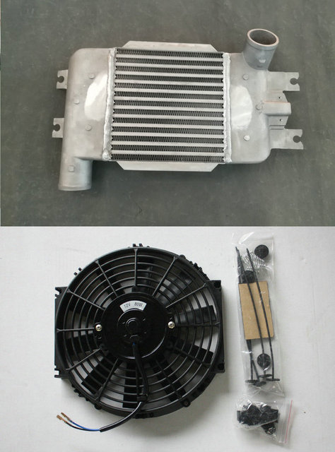 US $179 0 |Upgrade 70mm Aluminum Intercooler +FAN FOR Nissan Patrol GU IV  Y61 ZD30 3 0L Turbo Diesel Common Rail 2007 2018 Top Mount -in Oil Coolers
