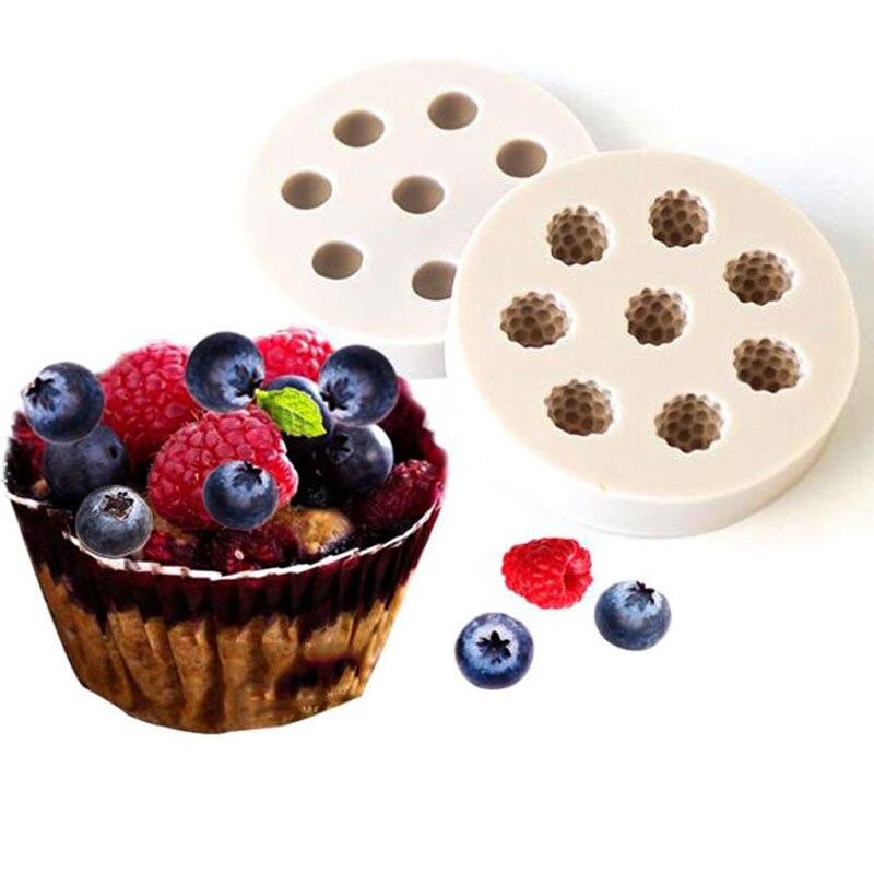 1pc 8 Holes Raspberry Blueberry Shape Cake Mold Silicone Berry Fondant Mold Cake Decoration Tool