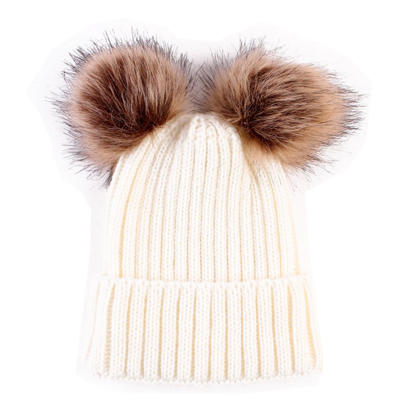 2017 Baby Hats Fashion Winter Warm Knit Double Fur Pom Pom Hat Kids Girls Boys Toddler Knitted Crochet Beanie Caps For Baby
