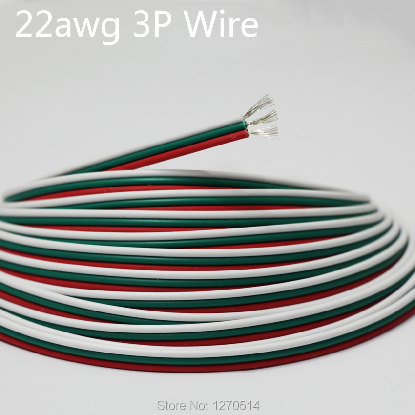 16m/lot, Tinned copper cable , 22AWG 3 pin RGB cable, PVC insulated ...