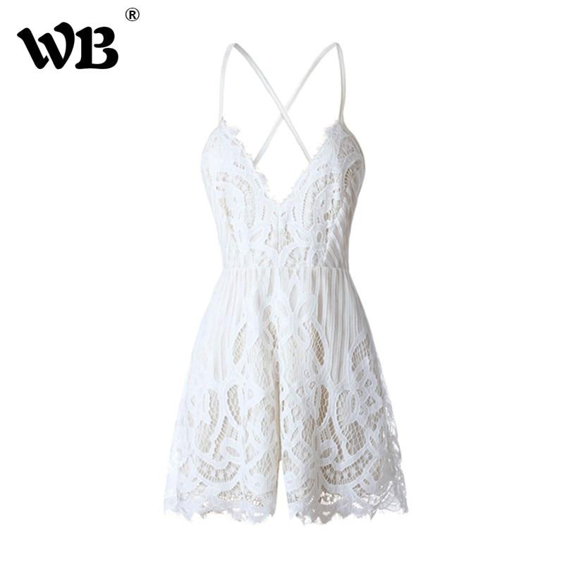 Detail Feedback Questions about Women Jumpsuits Lace White Sexy Jumpsuit V  Neck Romper Spaghetti Strap Combinaison Short femme Fashion Jumpsuit For  Elegant ... 96fd688f3e33