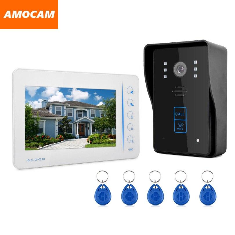 7 Touch Monitor Video Intercom Doorbell door phone System Kit 5 Pcs RFID Keyfobs IR Night