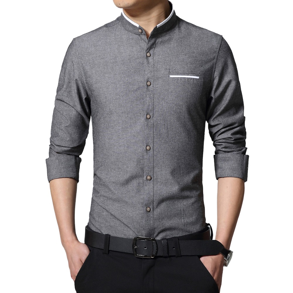 Popular band collar dress shirts buy cheap band collar for Brand name long sleeve t shirt