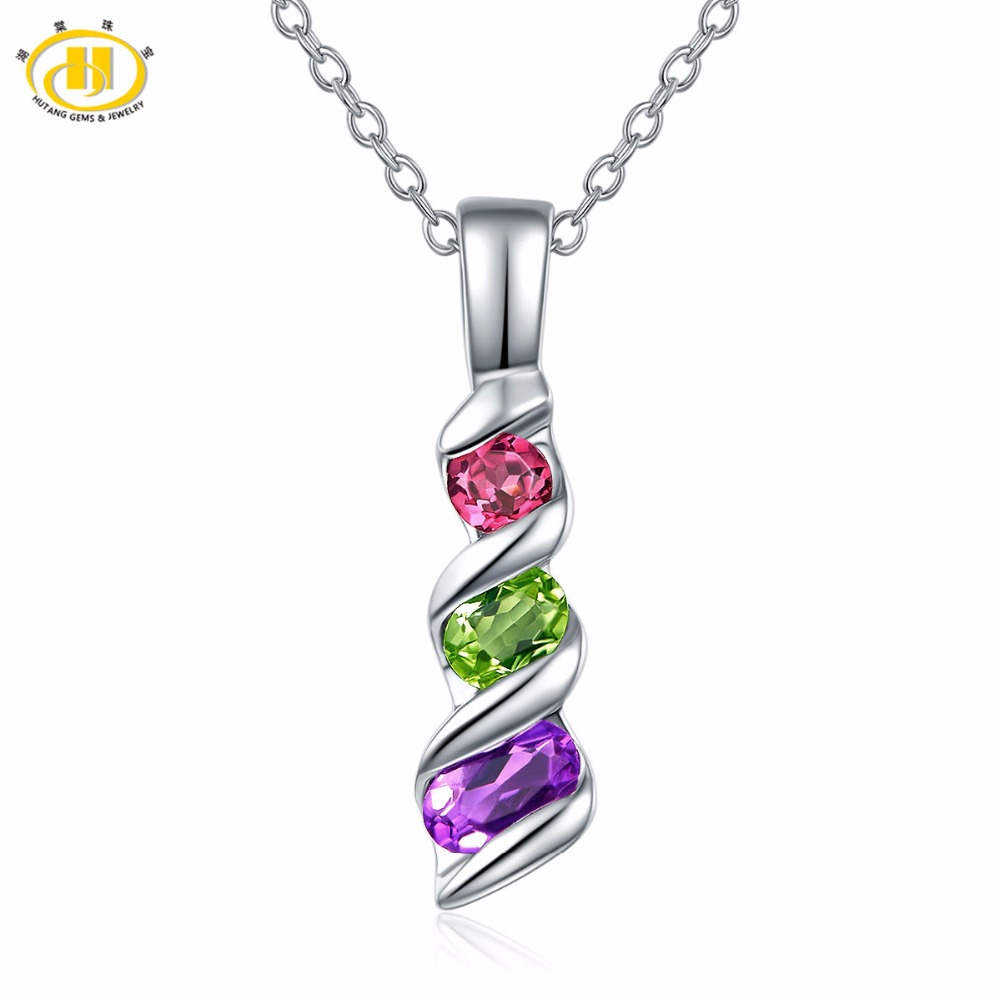 Hutang Natural Gemstone Amethyst Peridot Garnet Solid 925 Sterling Silver Pendant & Necklace Fine Jewelry For Women 2017 New