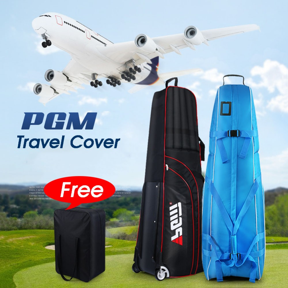PGM Golf Aviation Bag Golf Travel Bag Cover Thicken Foldable Golf Bag with Wheels 3 Colors Bolsa de Golf new golf aviation bag portable golf package golf travel bag pu cover thicken air bag with wheels