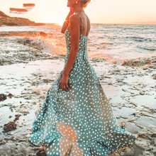 CUERLY Maxi women summer dresses boho Sexy v-neck strap dress elegant Button dot print long beach 2019