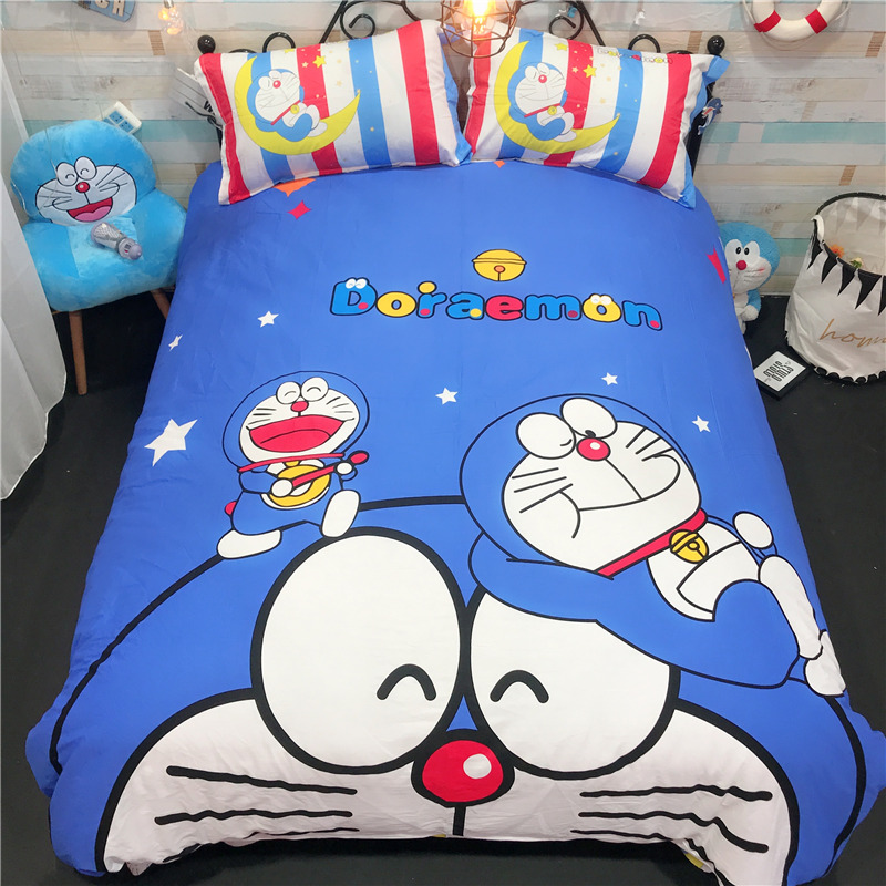 100%cotton 3/4Pcs Cartoon Doraemon Bedding Set for Kid Boys Girls Duvet Cover/Bed Sheet/Pillowcase Bed Bedclothes home ornament