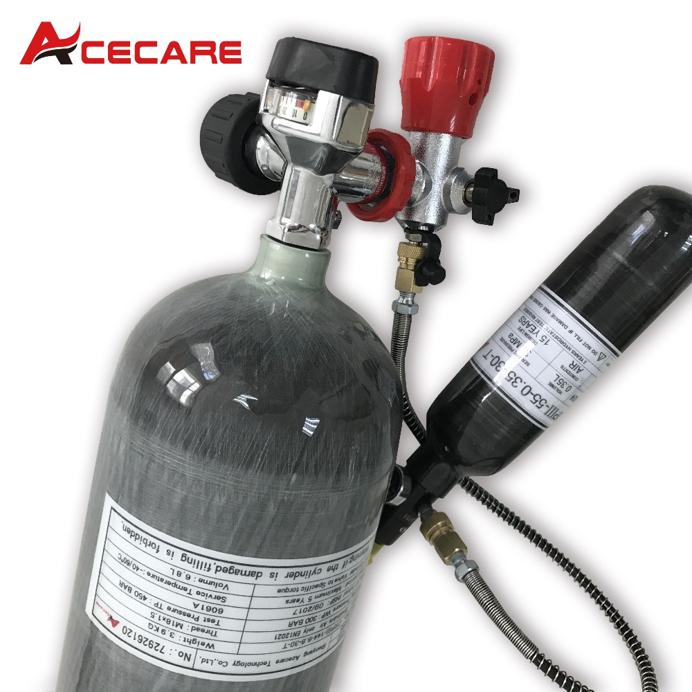 AC16820161035 6.8L Scuba Diving Tank Cylinder Compressed Air Mini Cylinder Diving 0.35L Paintball Tank Regulator Pcp Air Rifle