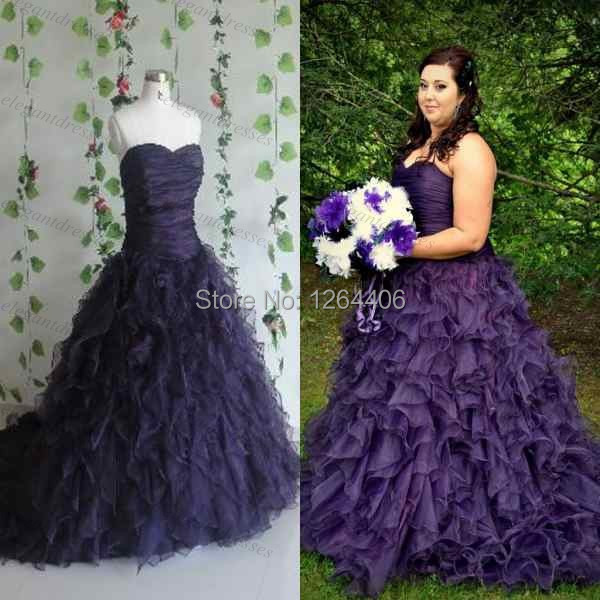 Besting Selling Purple Ruffled Plus Size Wedding Dress Wedding ...