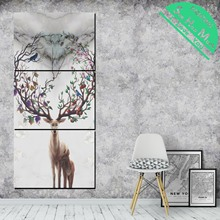 3 Pieces Nordic style Deer  HD Printed Canvas Painting Wall Art Decoration for Living Room Poster art painting wall poster