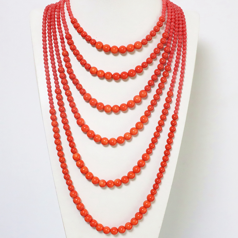 Free shipping 6 rows orange imitation coral round beads neckalce for women new fashion elegant weddings gift jewelry B1910