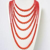 Free shipping 6 rows orange imitation coral round beads neckalce for women new fashion elegant weddings gift jewelry B1910