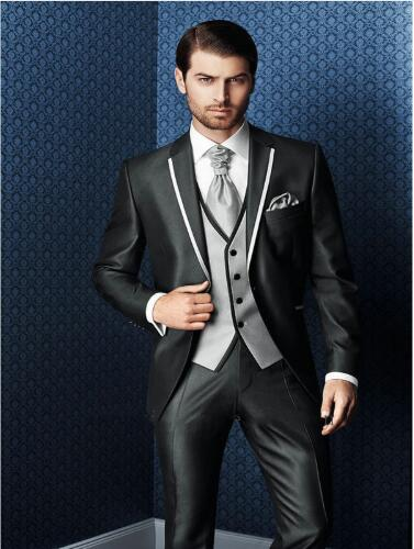 2019 New Arrival Bespoke Grey Classic Wedding Groom Suit For Men Wedding Tuxedos Groomsmen Best Man Suit (Jacket+Pants+Vest)