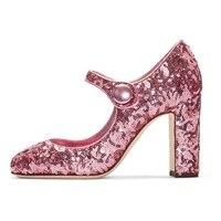 Пикантные розовые Bling блестящие туфли лодочки на каблуке круглый носок Мэри Джейн не сужающийся к низу каблук Туфли под платье Для женщин то