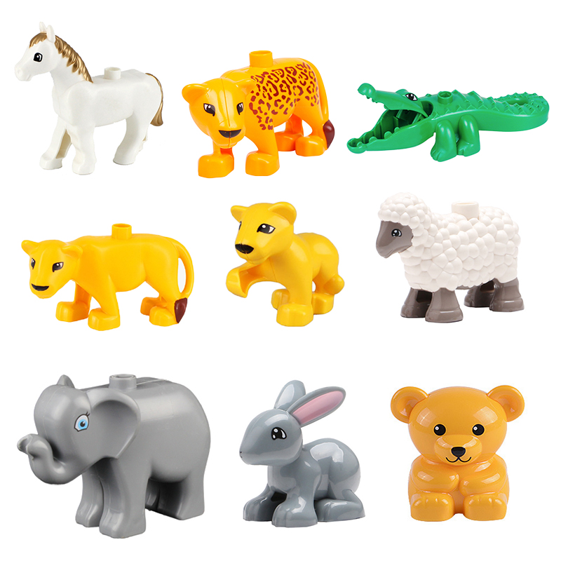 Big Building Blocks Bricks Accessory Horse Crocodile Compatible With Duplo Original Animals Part Children Assemble Kid Toys Gift