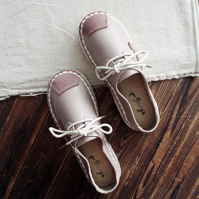 HUIFENGAZURRCS-2018 new leather handmade shoes, antique flat sole women's shoes, literature and art soft bottom college shoes