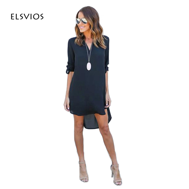 2017 vrouwen dress lente zomer chiffon lange mouwen casual dress split tops blusas sexy shirt jurken plus size vestidos feminino