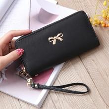 цена Women Long Clutch Wallets Female Fashion PU Leather Bowknot Coin Bag Phone Purses Famous Designer Lady Cards Holder Wallet 244 в интернет-магазинах