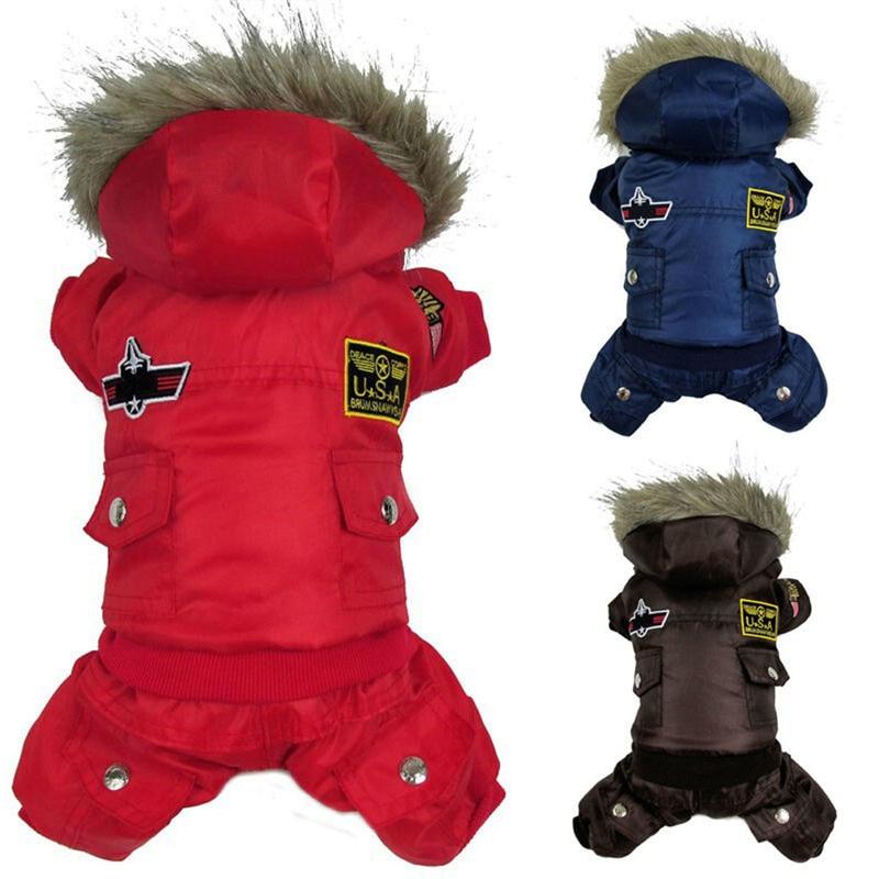 Parim müügi koera kutsikas soe talvejakk USA AIR FORCE Veekindlad riided Lemmikloomad Loomad Kass Kapuutsiga riided Jumpsuit püksid