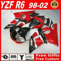 OEM red black Fairings set for YAMAHA R6 1998 2002 ABS parts kit 98 99 00 01 02 fairing kits YZF 600 1999 2000 2001