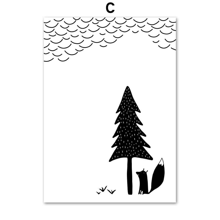 Us 4 05 38 Off Cartoon Tree Fox Bear Rabbit Wall Art Canvas Painting Nordic Posters And Prints Black White Wall Pictures Baby Kids Room Decor In