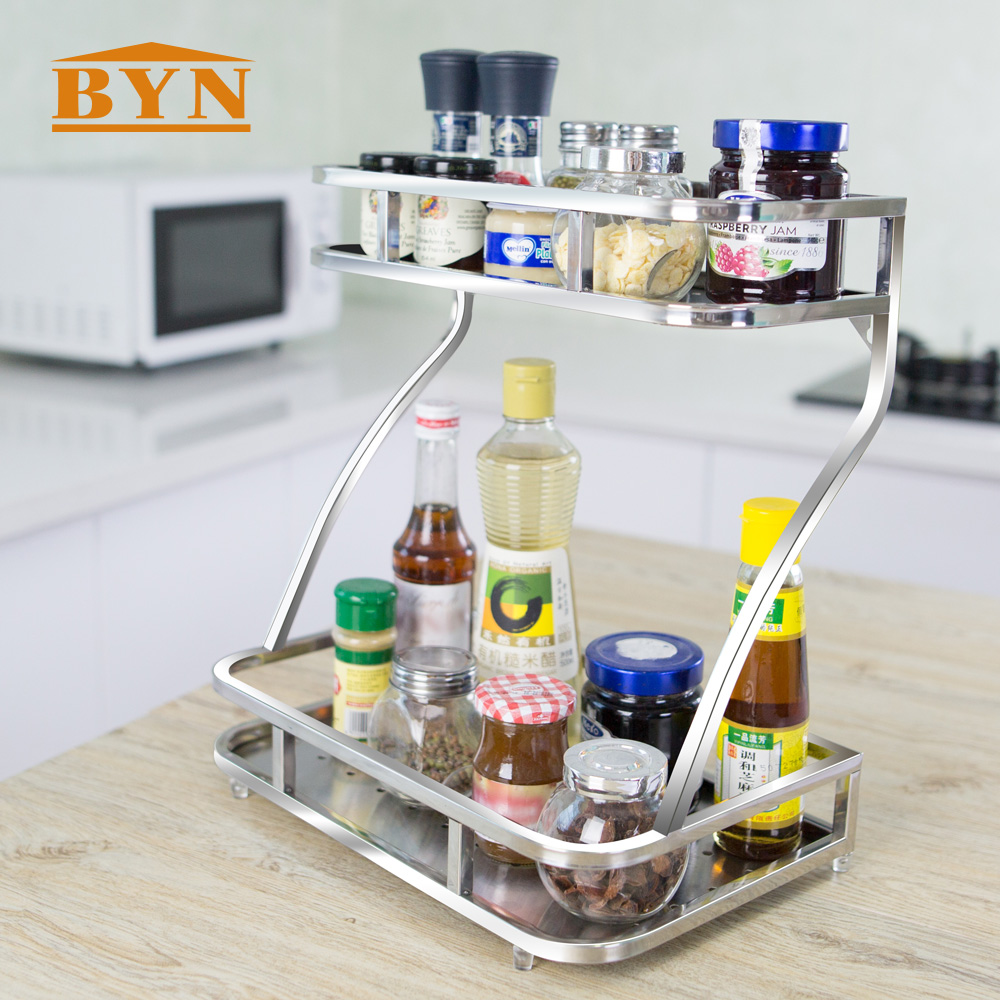 Kitchen Counter Rack Wall Decor Ideas Byn Stainless Steel Spice Shelf Organizer Bottles Can Jar Storage Dqzwj02 In Holders Racks From