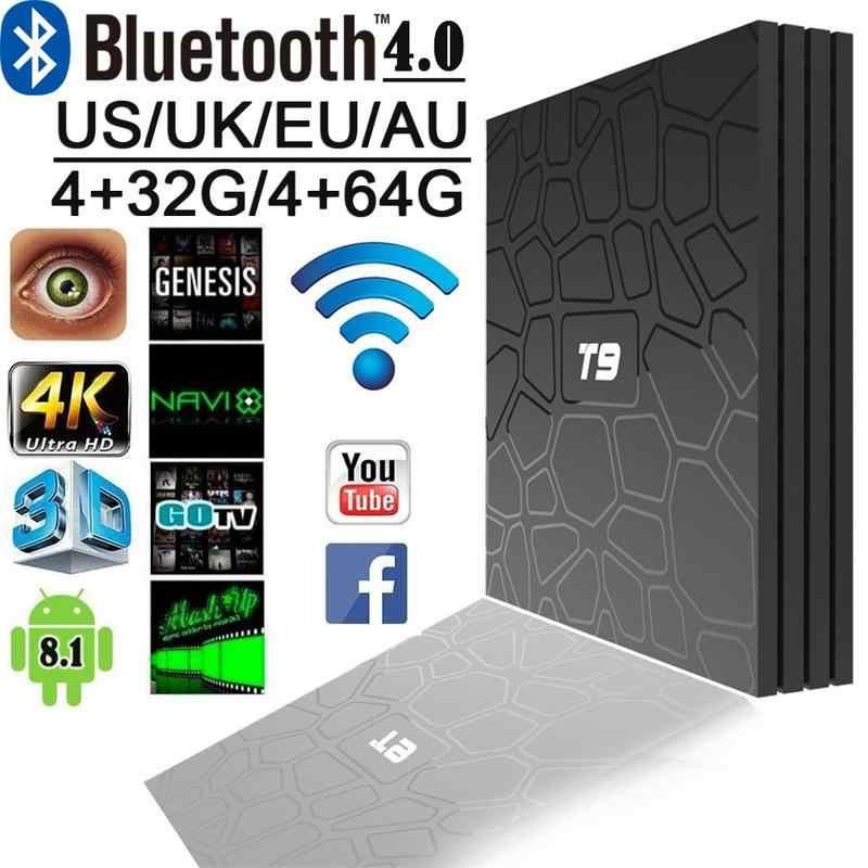 2018 Baru Kedatangan T9 HD Network Set-Top Box RK3328 Bluetooth 4G Memori 32G 8.1 USB3.0 dropship untuk TV Menerima