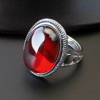 Luxury Ruby Garnet Ring 925 Silver Bague Femme Pure Joyas De Plata Red Stone S925 Sterling