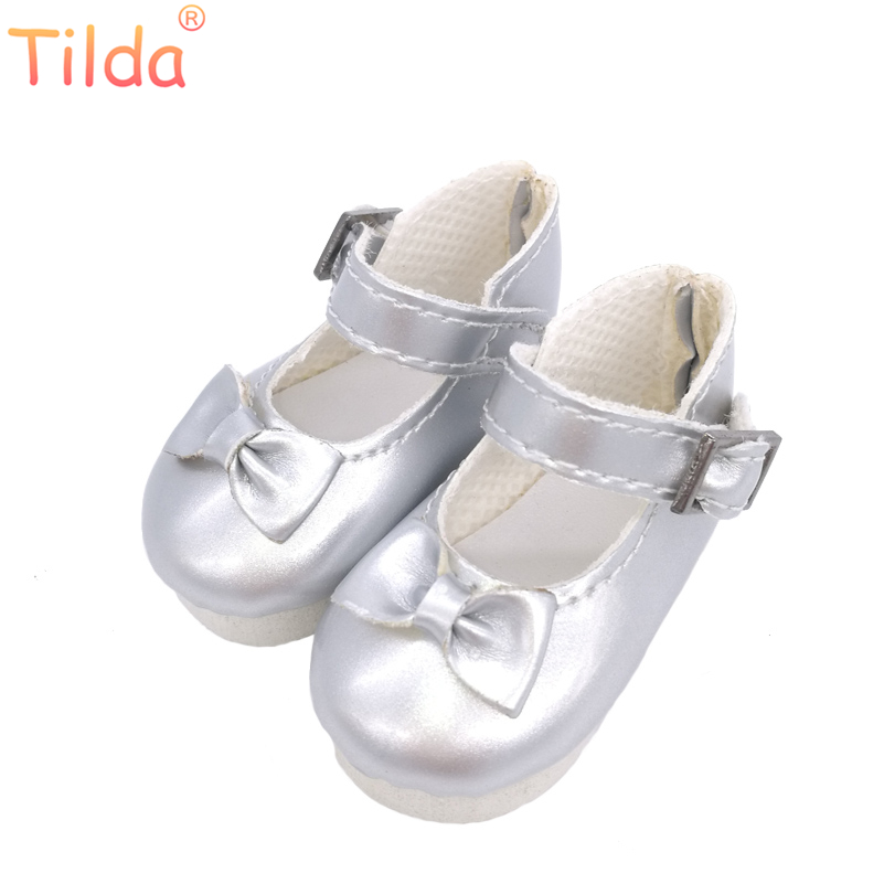 все цены на Tilda Butterfly Design Bow Tie Doll Boots PU Leather Shoes For Paola Reina Doll Toy,1/6 Mini Doll Shoes for Dolls Accessories