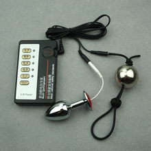 Электро стимулятор Анальный штекер пениса растяжения задержка упражнения из металла Вес шары electro Shock стимулятор секс-комплект