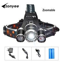 Zonyee Headlamp Led 10000 Lumen Headlight Flashlight Zoom Flashlight Torch 3 XML-T6 LED Head Lights Lamp with Batteries +Charger