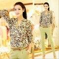 New Casual Blusas Feminina Impressão Geometria Longo-sleeved Top Blusa Moda Lady Colorido de Impressão De Escritório Blusa Top W00397