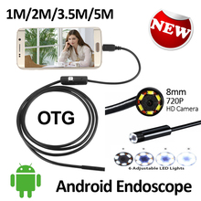 HD720P 8mm Android USB Endoscope 2.0MP Camera 1M 2M 3.5M 5M IP67 Waterproof Snake Inspection Android OTG USB Borescope Camera
