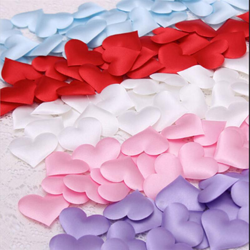 100pcs/lot 6 Colors 20mm Sponge Satin Fabric Heart Petals Wedding Confetti Table Bed Heart Petals Wedding Valentine Decoration