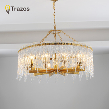TRAZOS Luxury Modern Crystal Chandelier For Living Room Round Hanging LED Lustres De Cristal Gold Home Decoration Crystal Lamp luxury gold crystal chandelier for living room dia60 h60cm 9pcs crystals ball led lustres de cristal home decor crystal lamps
