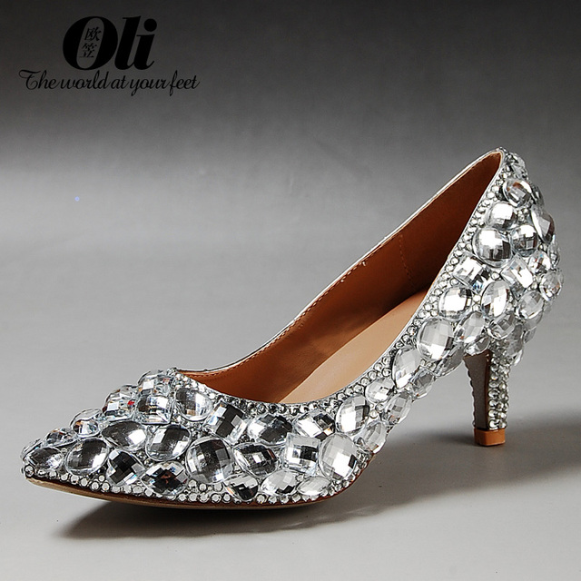 Gem Rhinestone Pointed Toe Single Shoes Female Low Heeled Wedding Plus Size Formal Dress