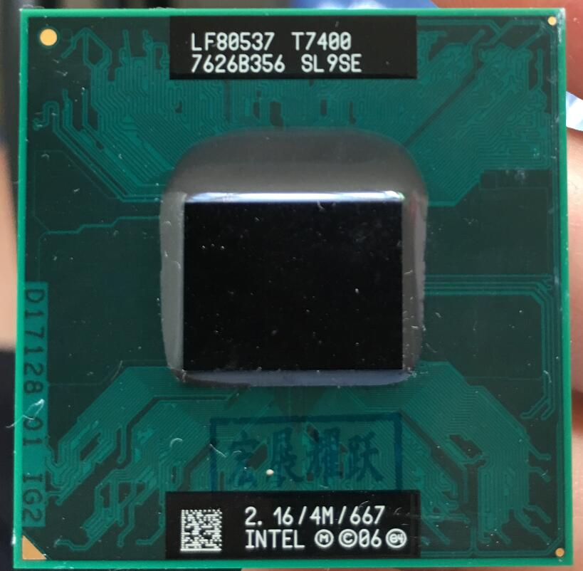 Intel core 2 duo t7400 cpu sl9se b2 processador portátil pga 478 cpu 100% funcionando corretamente
