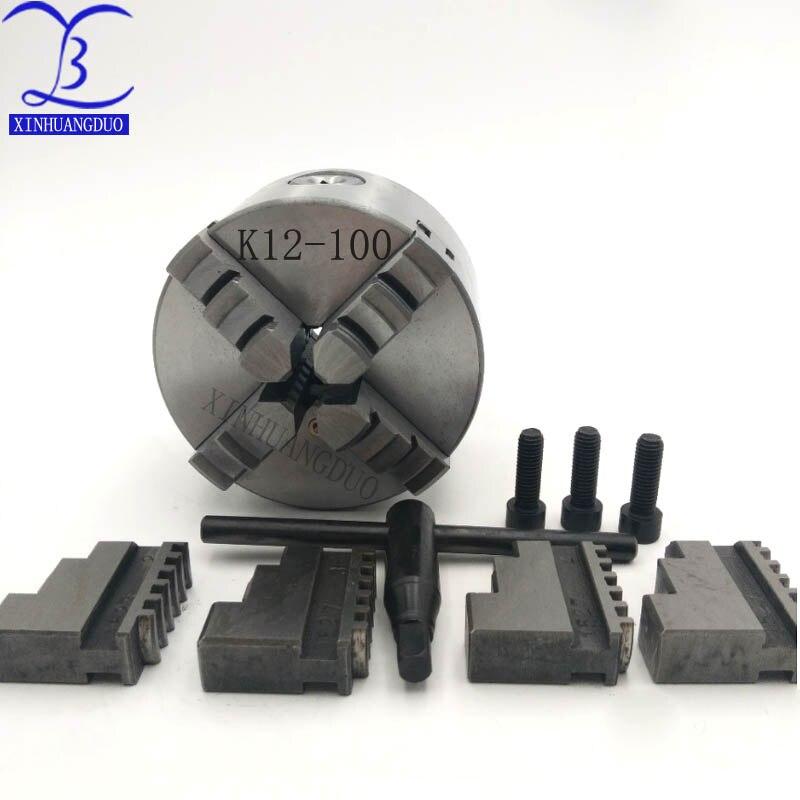 K12-100 quatre mâchoires mandrin auto-centrant 100mm machines-outils pince tour mandrin en acier trempé