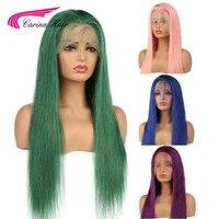 Карина полный кружева парики человеческих волос с для волос Розовый Синий Зеленый Фиолетовый бразильский Волосы remy бесклеевой парик на сет