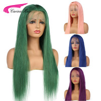 Carina Full Lace Human Hair Wigs with Baby Hair Pink Blue Green Purple Brazilian Remy Hair Glueless Lace Wigs with Pre Plucked