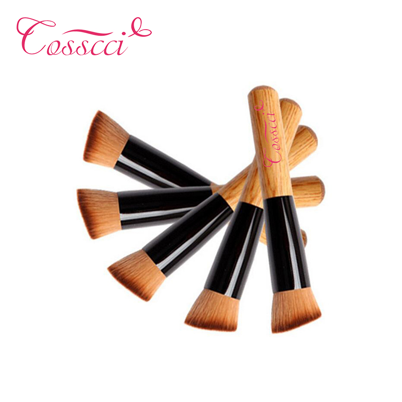 COSSCCI High Quality 1 PCS Professional Powder Brush Wooden Handle Multi-Function Blush Mask Foundation Makeup Brush Tool BF13WO