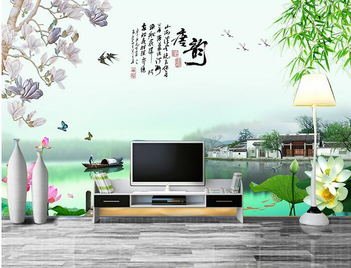 3d room wallpaper custom mural non-woven wall sticker 3d Chinese landscape river village painting photo 3d wall murals wallpaper