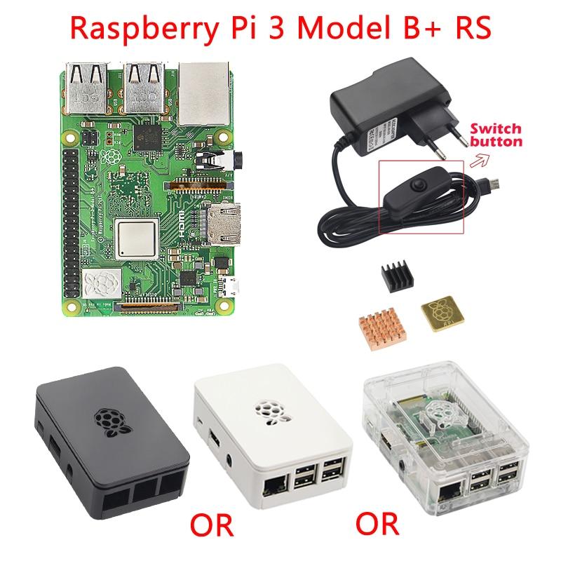 Raspberry Pi 3 Model B+ Plus Starter kit Raspberry Pi 3 Model B + ABS Case + Heat Sink + 5V 2.5A Power Adapter for RPI 3B+