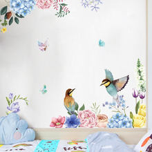 Ink painting flowers and birds wall sticker living room for home interior decoration Decals wallpaper Inkjet Glass stickers(China)